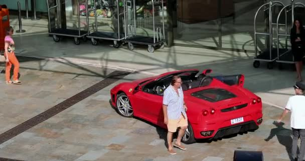 Monte-Carlo, Monaco - June 20, 2019: Red Ferrari F430 Spider Parked In Front Of The Hotel Fairmont Monte-Carlo In Monaco On The French Riviera, Europe. Top View - DCi 4K Video