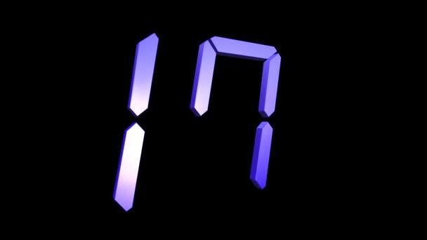 bunte Countdown 20 bis 0 - zwanzig bis null 3D-Zahlenschleife auf schwarzem Hintergrund, Uhr Countdown-Timer digital - 4k Schleifenhintergrund uhd Animation