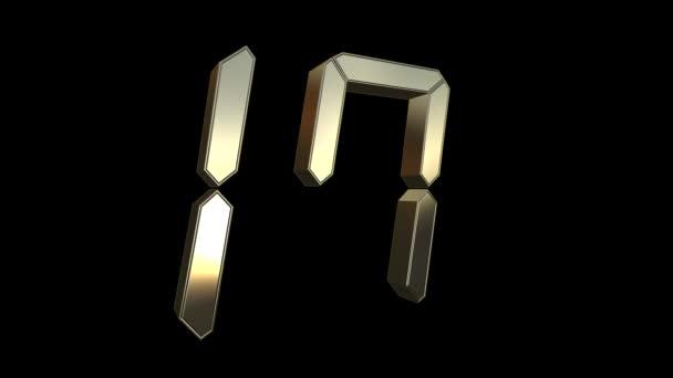 Visszaszámlálás húsz-hoz egy-20-hoz 1, ébresztõóra 3D digitális arany számok-ra egy fekete háttér, óra visszaszámlálás időzítő digitális-4k hurok háttér Uhd animáció