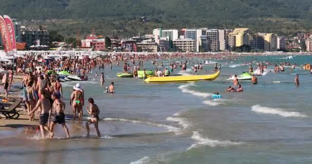 Sunny Beach, Bulgaria - August 7, 2019: Crowded Sunny Beach (Slanchev Bryag) On The Black Sea Coast In A High Peak Season, Europe - DCi 4K Video