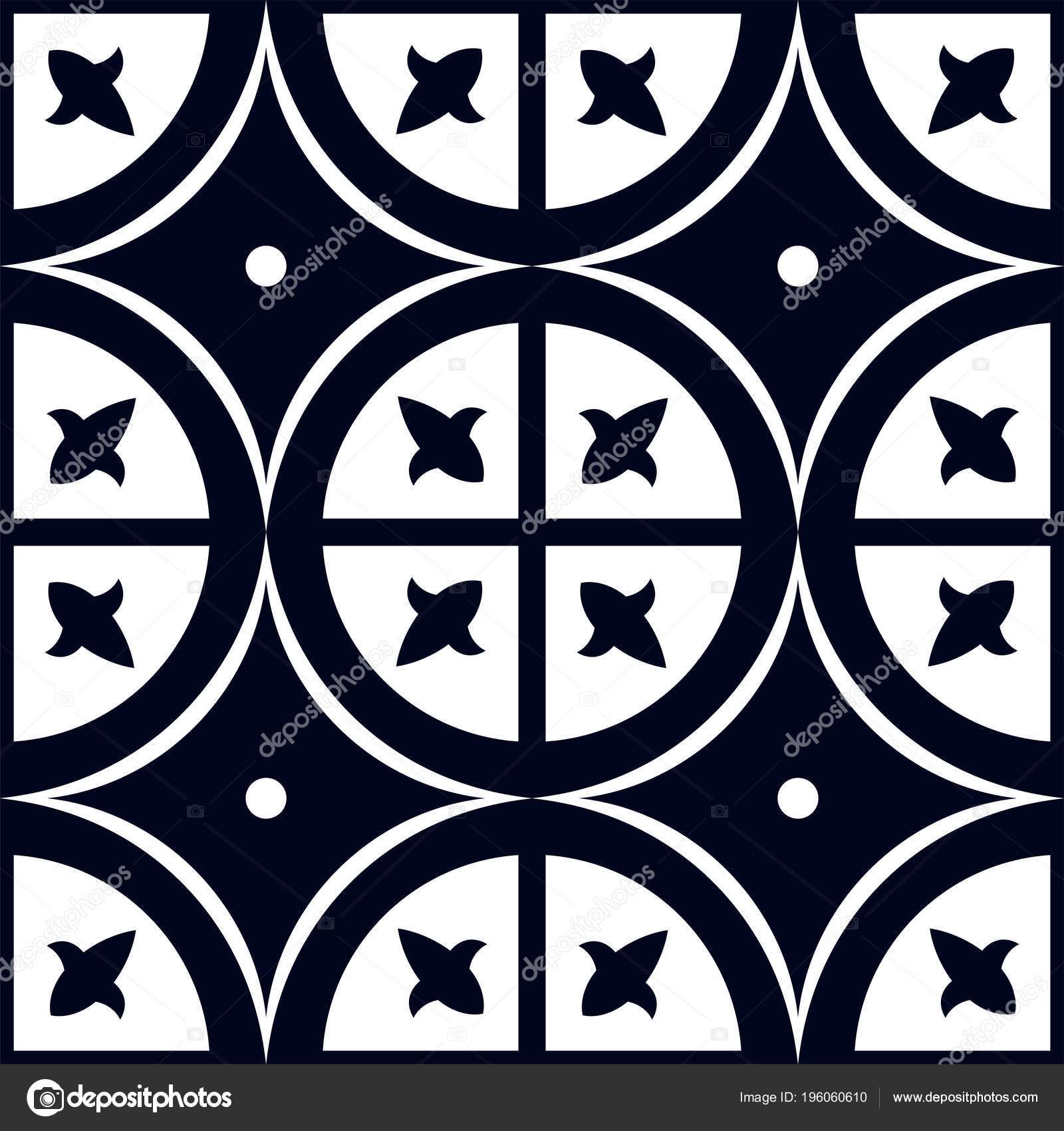 Orientalische Vektormuster Blauer Farbe Fliese Oder Hollandischen