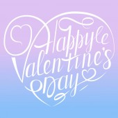 Vector Happy Valentines Day Vintage Karte mit Schriftzug