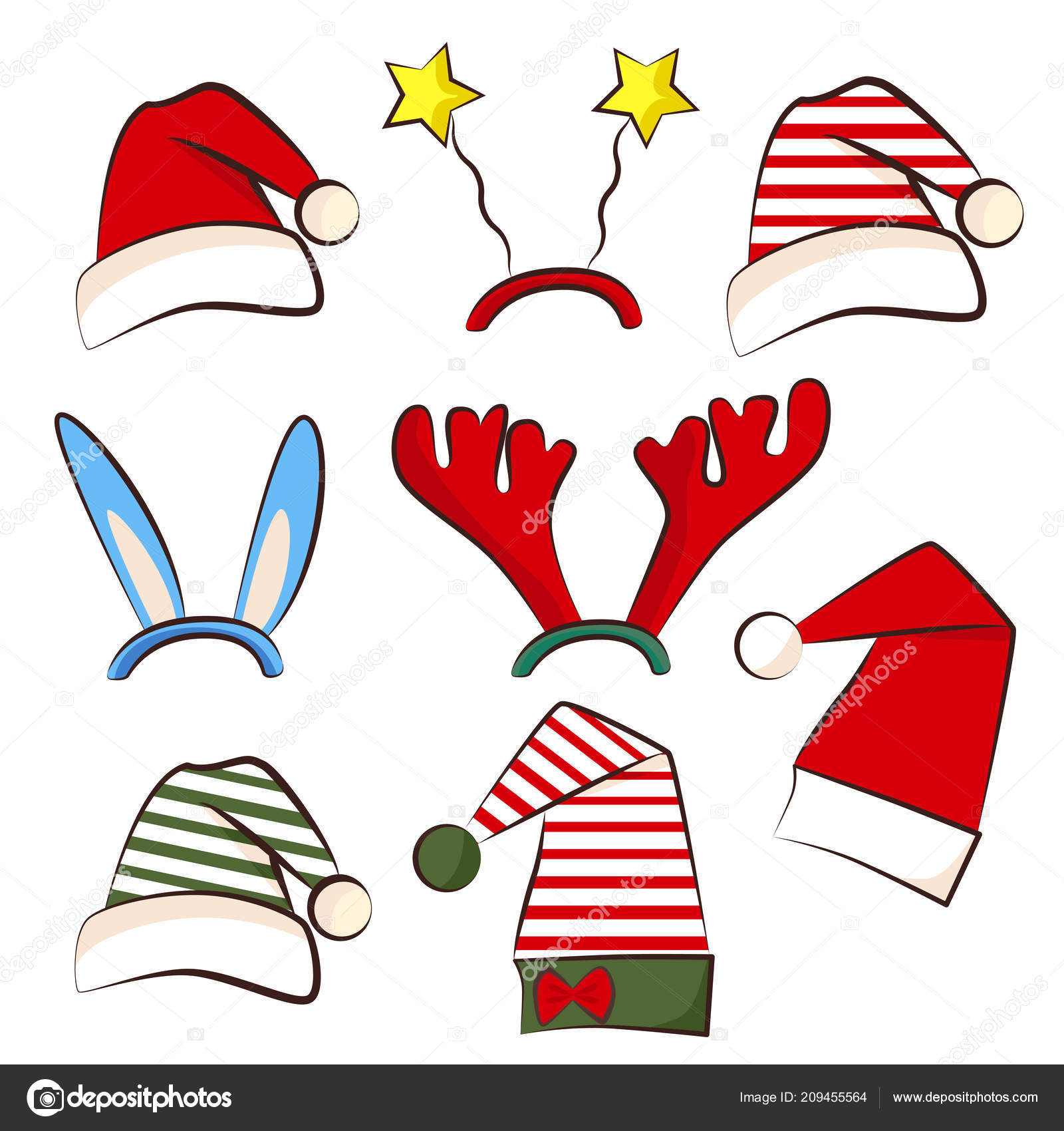 christmas bright party hat set for photo booth xmas party antler star and star hat traditional santa and elf hats for new year celebration vector by