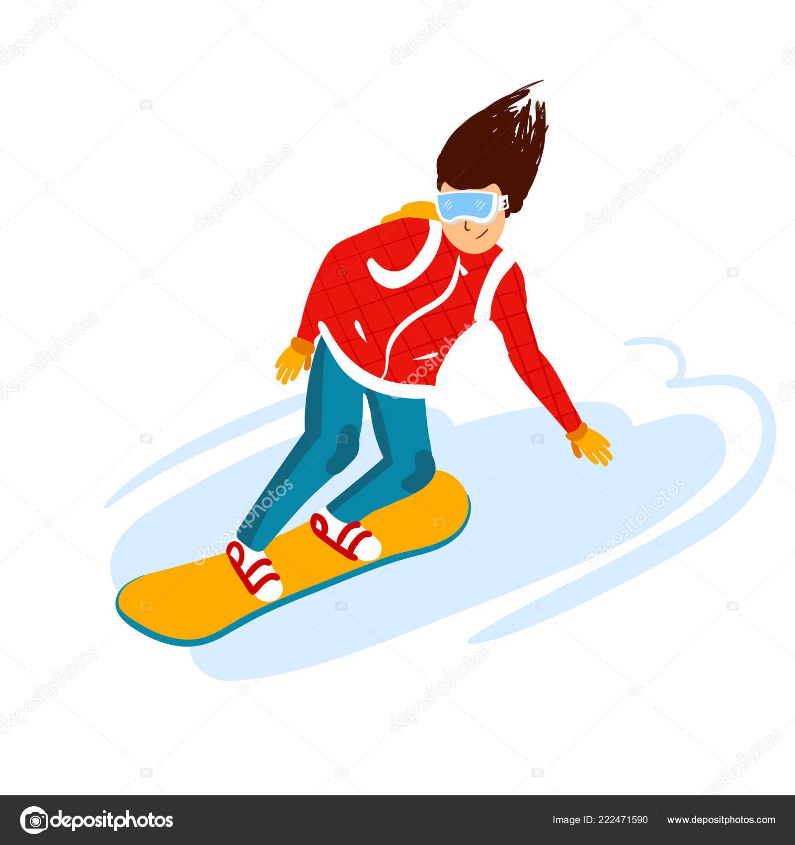 Cartoon Snowboard Riders Men Winter Mountain Sports Activity Ski Resort Vacation Vector Illustration In Simple Flat Style Stock Vector C Loresina 222471590