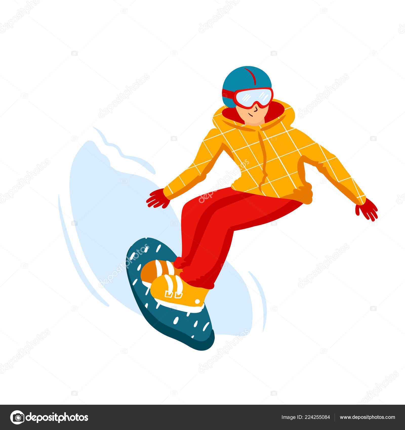 Cartoon Snowboard Riders Men Winter Mountain Sports