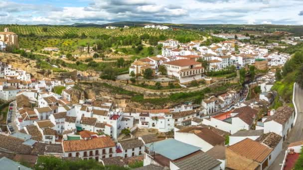 Spectacular aerial view panorama of Setenil de las Bodegas, a famous village de la Ruta de los Pueblos Blancos, white villages, between Cadiz and Malaga, Andalusia, Spain.
