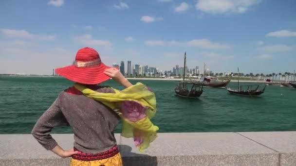 Woman at Doha Skyline