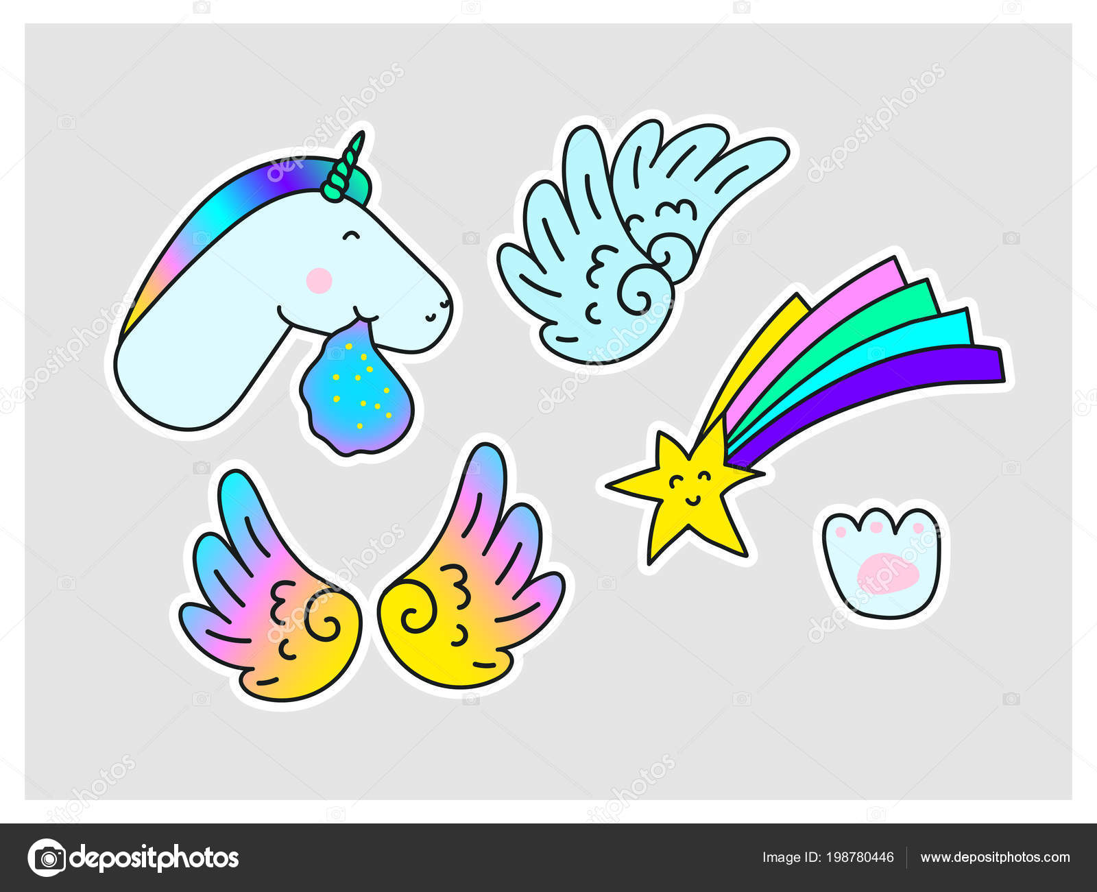 Unicorns Star Wings Paw Print Fantasy Vector Stickers Set Isolated