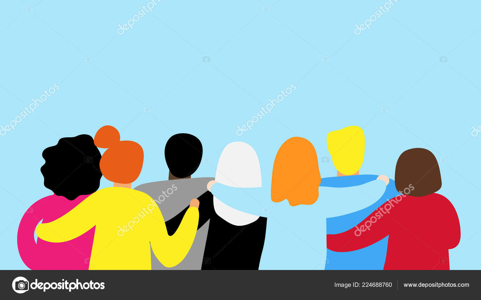 Friends Forever Friendly Group Of People Hugging Stock Vector