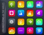 Alternative Energien, die farbigen Symbole in die Löcher leicht an jedem Hintergrund anpassen