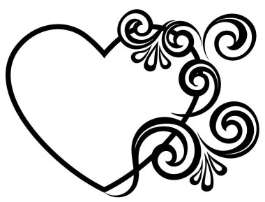 Heart decorated with floral ornament. Template for Valentine's greeting card