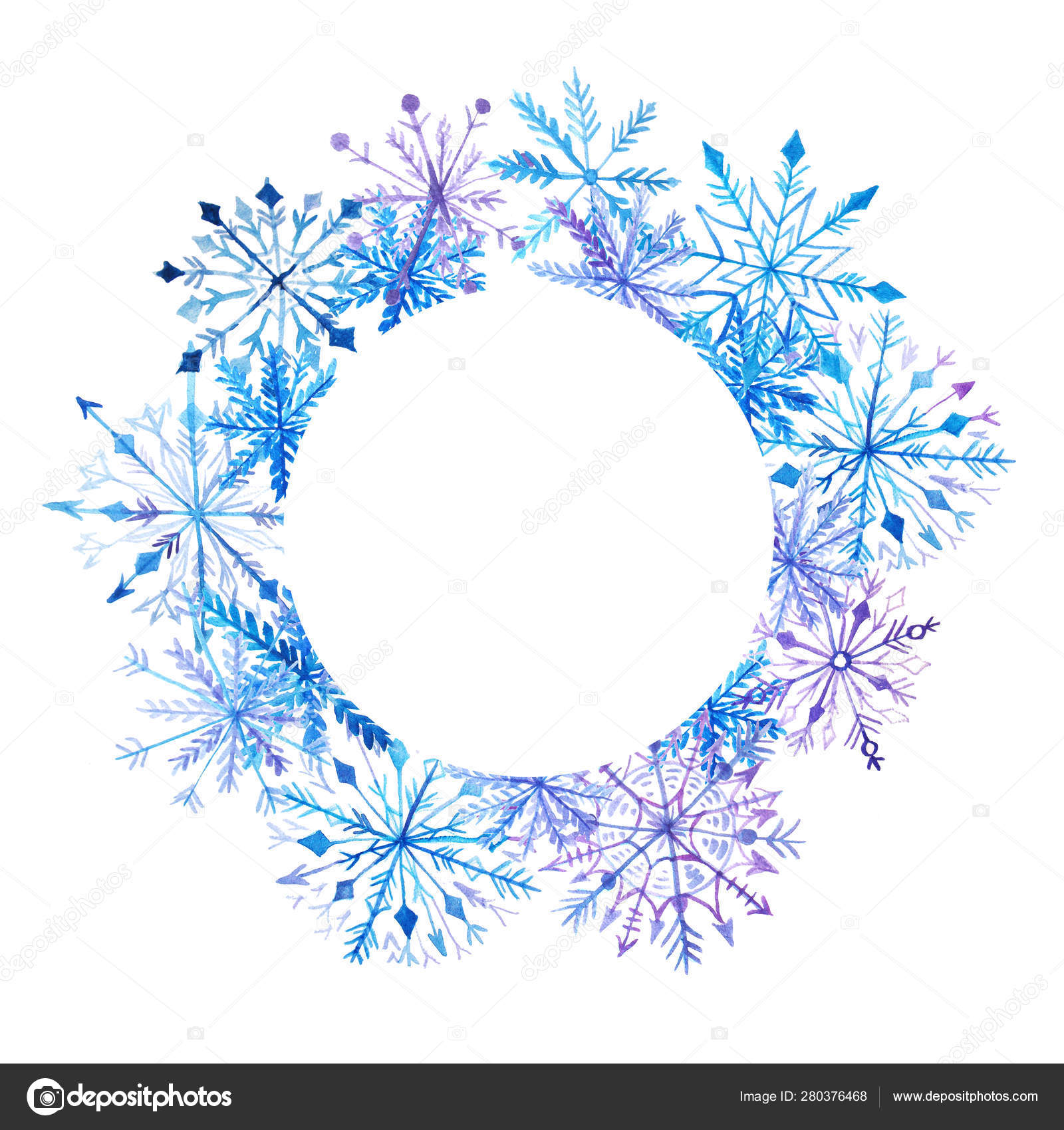 round snowflake template  Watercolor snowflake frame card template — Stock Photo ...