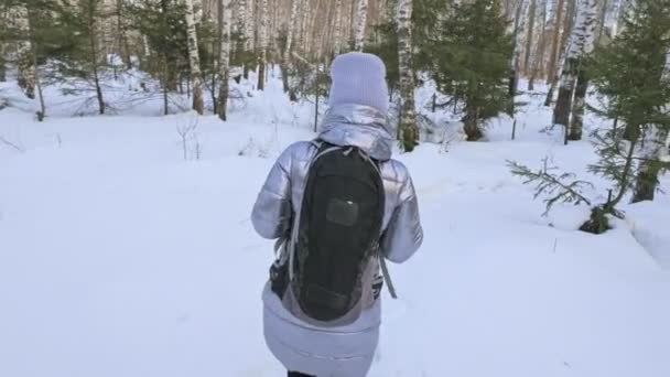 Woman is walking in the woods. Traveler is walk in birch forest in city park. Girl walks in evening time with beautiful juicy sunset. Explorer is dressed in stylish silver down jacket and backpack.