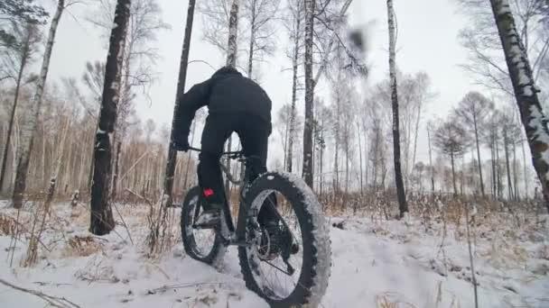 Profesionální sportovec extrémní biker jezdecké tuku kolo v venkovní. Pohled na detail zadního kola. Cyklisté jezdí v zimním lese. Muž na horské kolo s velkými pneumatiky. Sníh letět do objektivu fotoaparátu.