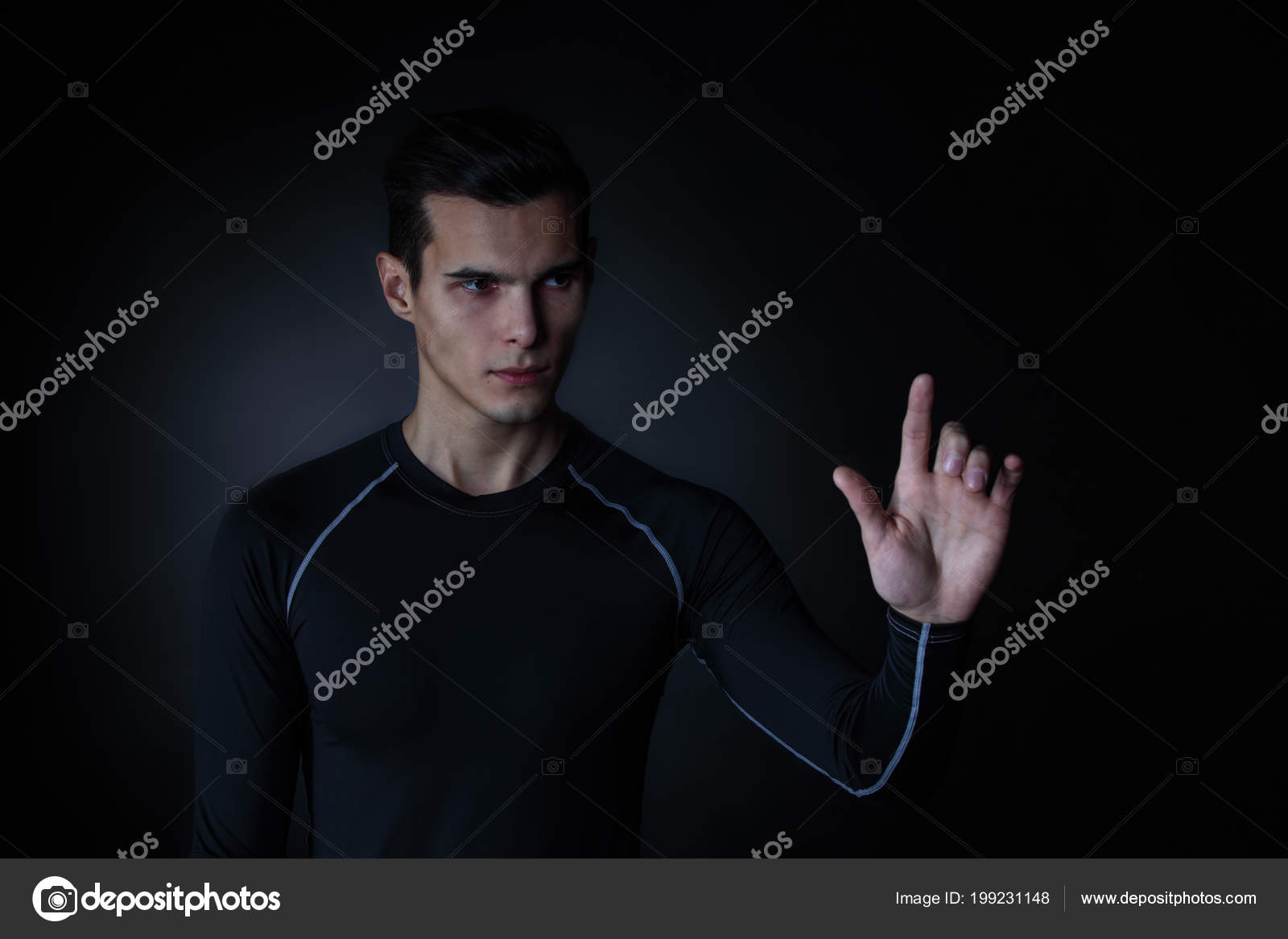 Man Touching Futuristic Invisible Display Innovation Future Concept