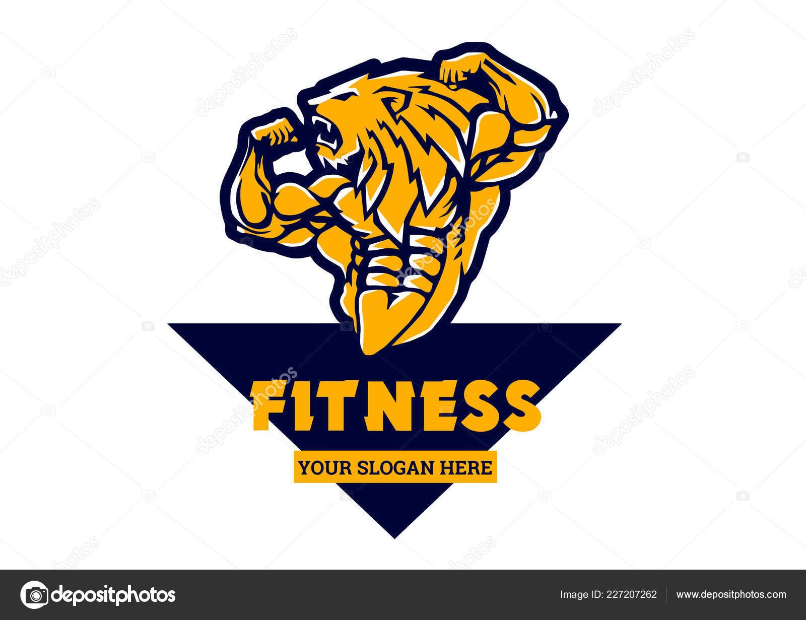 8fadb08794 Desporto Leão Forte Fisiculturista Ilustração Desenhos Animados Clipart  Logotipo Animal — Vetores de Stock