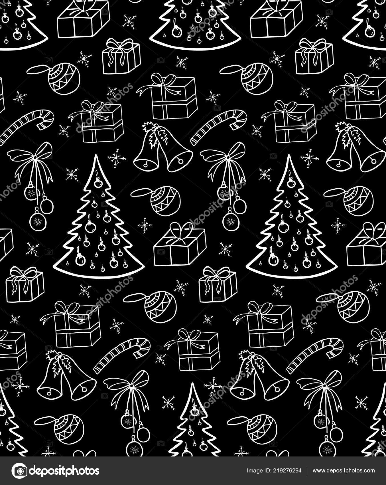 Black and white christmas tree wrapping paper