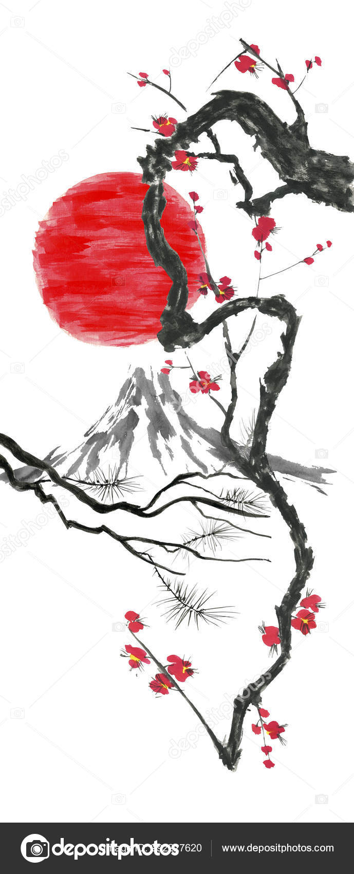 Oriental Traditional Sumi Painting Fuji Mountain Blossom Sakura