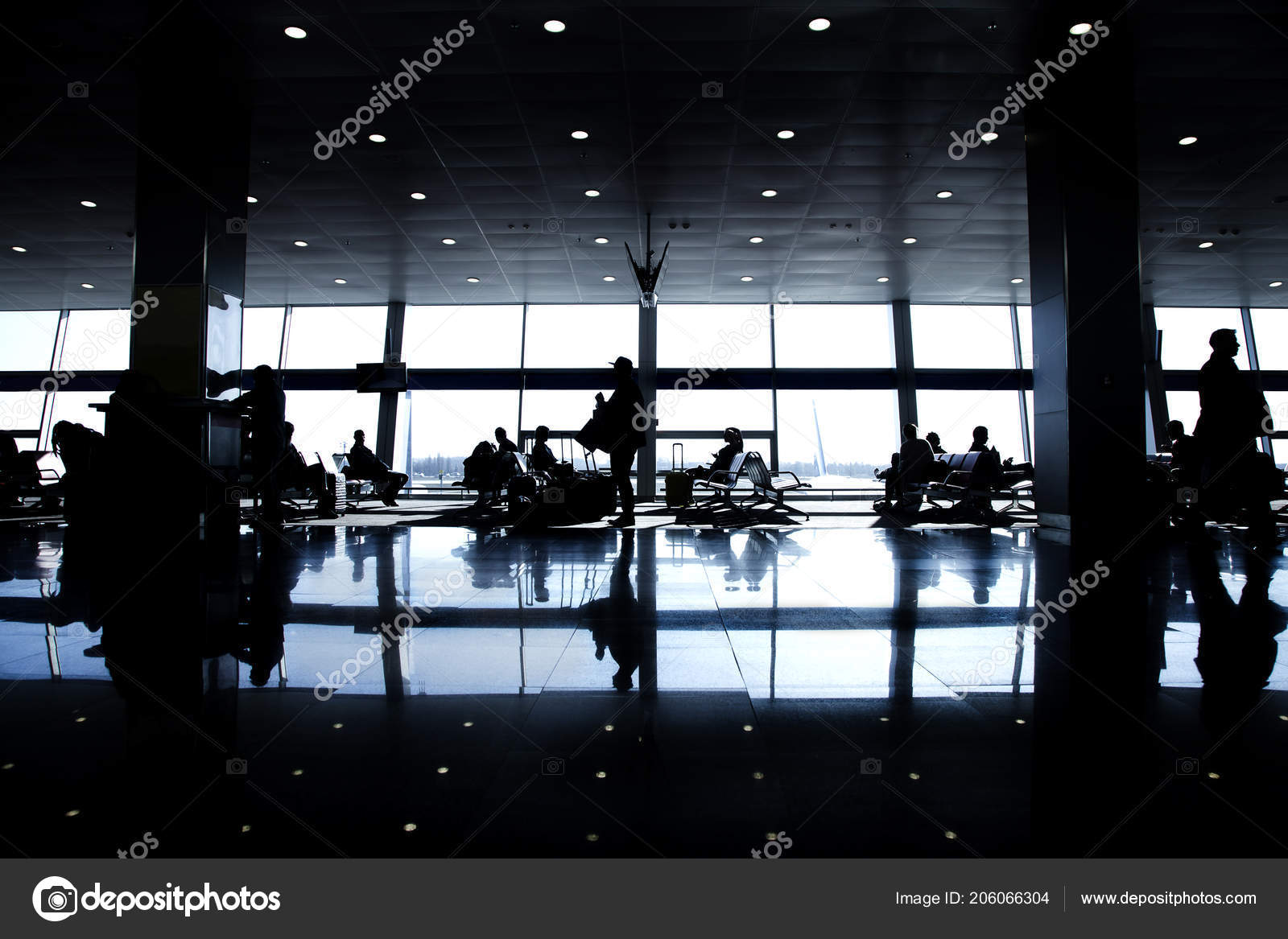 Silhouettes Passengers Large Airport Background Windows