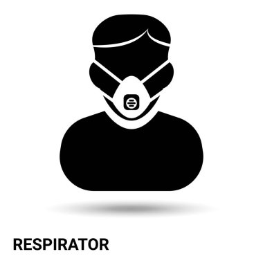 Man in a respirator icon. A person in a respirator is isolated on a light background. Vector illustration icon