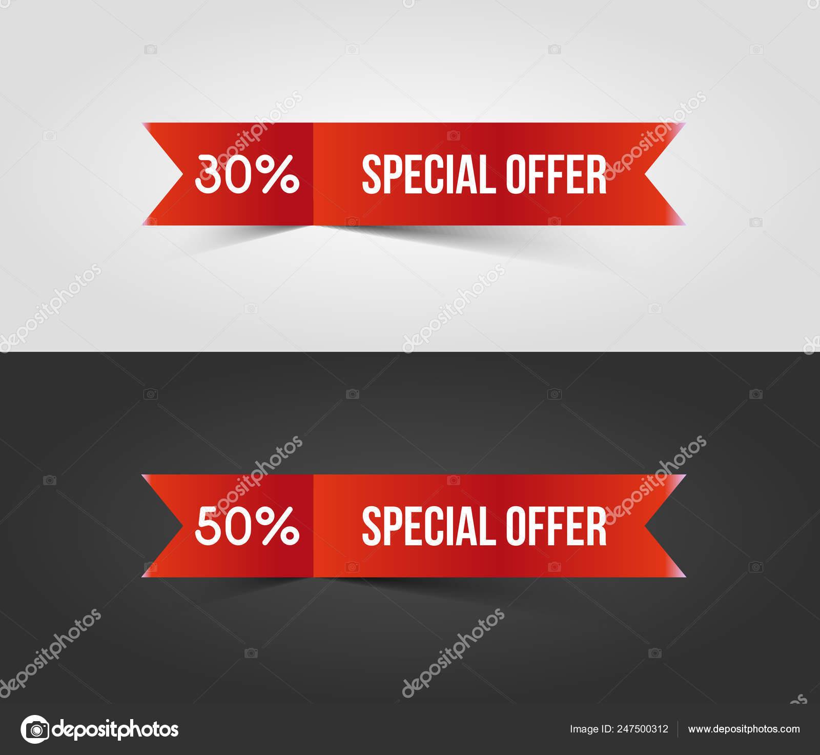 Specialoffer3red Speciale Offerta Banner Con Ombra Su Sfondo Bianco