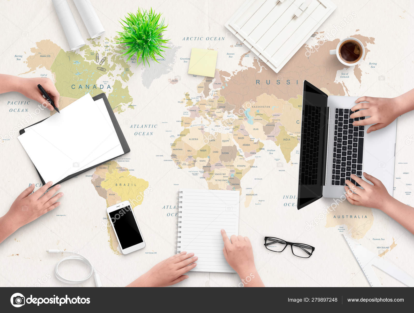 Travel Agency Office Concept People Work Papers Computer World Map