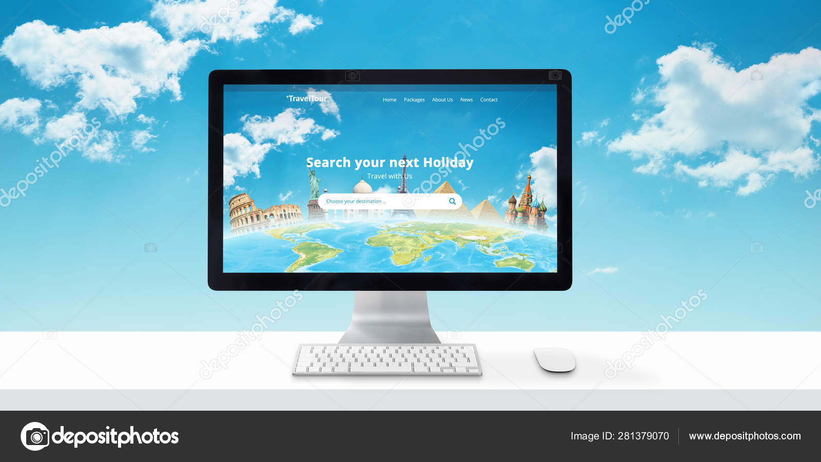 Travel Agency Website >> Travel Agency Website Concept Computer Display Search