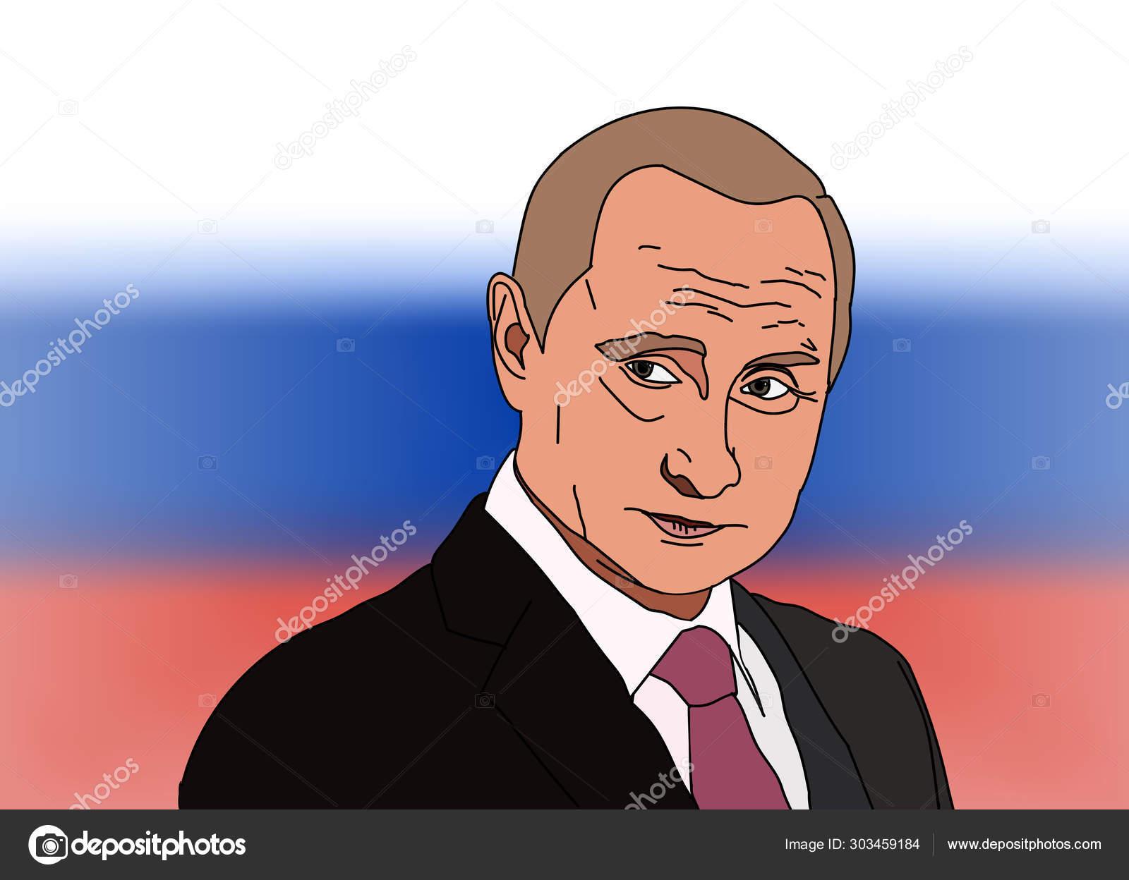 Sep 2019 Russia Russian President Vladimir Vladimirovich Putin Vector Portrait On Dark Background Stock Vector C Dima4to Gmail Com 303459184