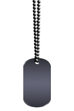 black metal tag and necklace. isolated with clipping path. 3d illustration.