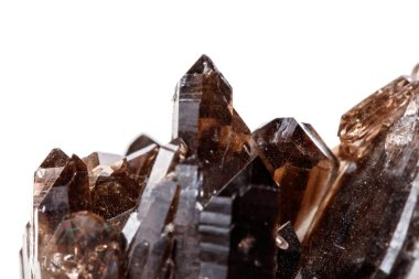 Macro mineral stone Morion crystal in the rock a white background close up