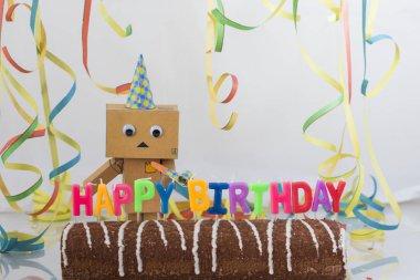 Happy birthday cake close up shot