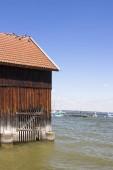 Fotografie Wooden boathouse in Diessen am Ammersee, Germany