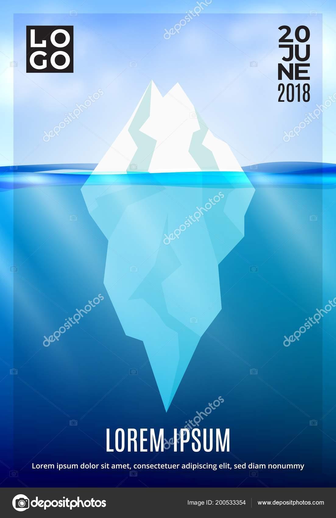 iceberg deep ocean poster winter background sun beam underwater
