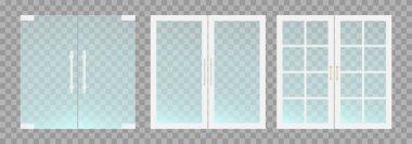 Flat transparent glass doors with handles. Vector illustration.