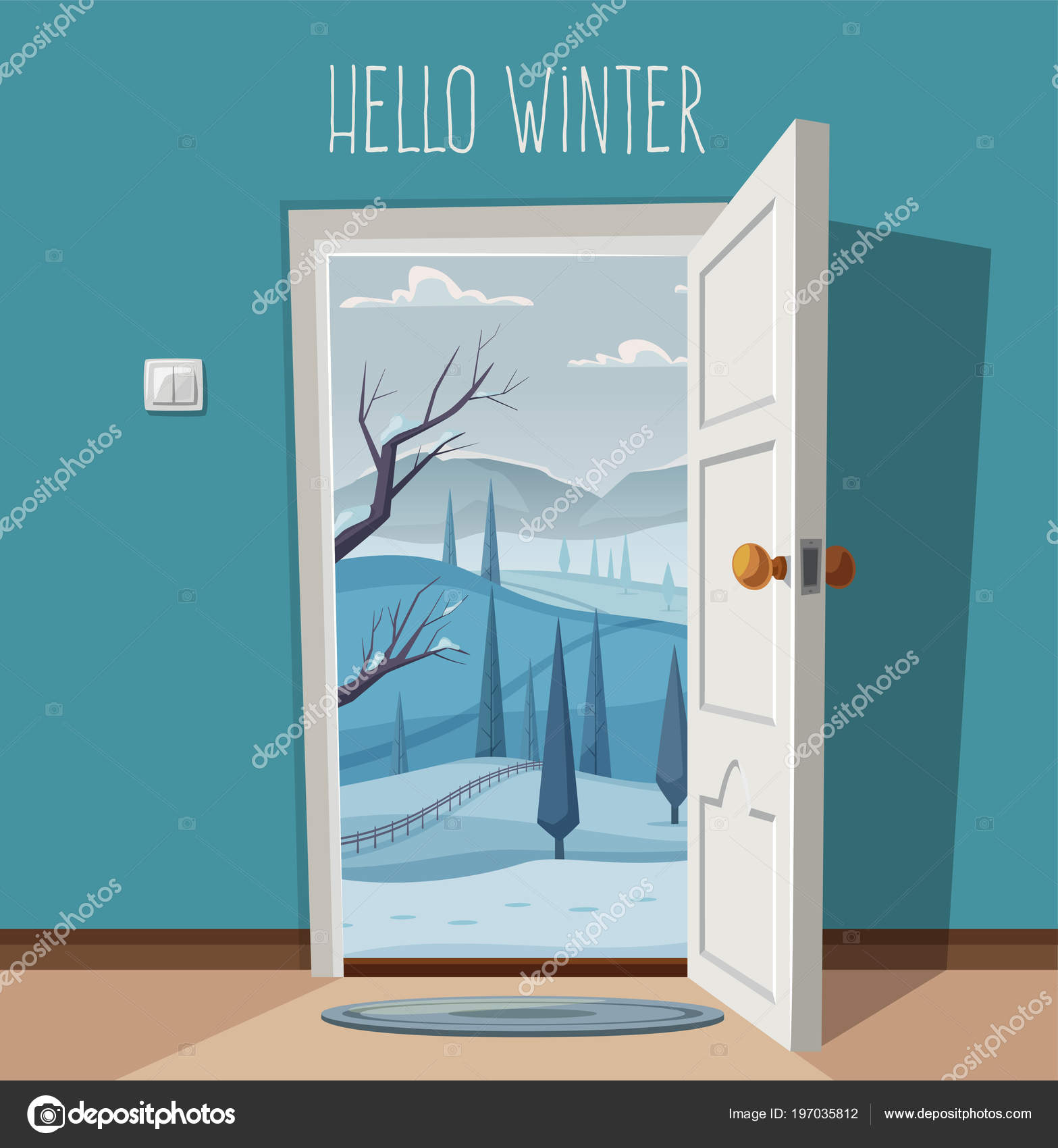 open door welcome left open open door valley landscape cartoon vector illustration vintage poster welcome to winter
