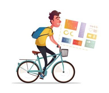 Funny man ride a bike. Vintage bicycle. Cartoon vector illustration
