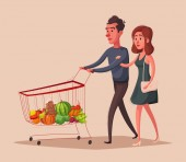 Fotografie Happy family with supermarket shopping cart. Cartoon vector illustration