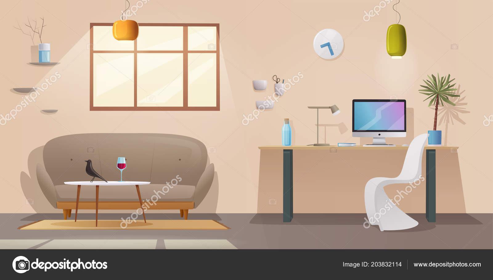 Salle de séjour et de l intérieur du bureau appartement moderne