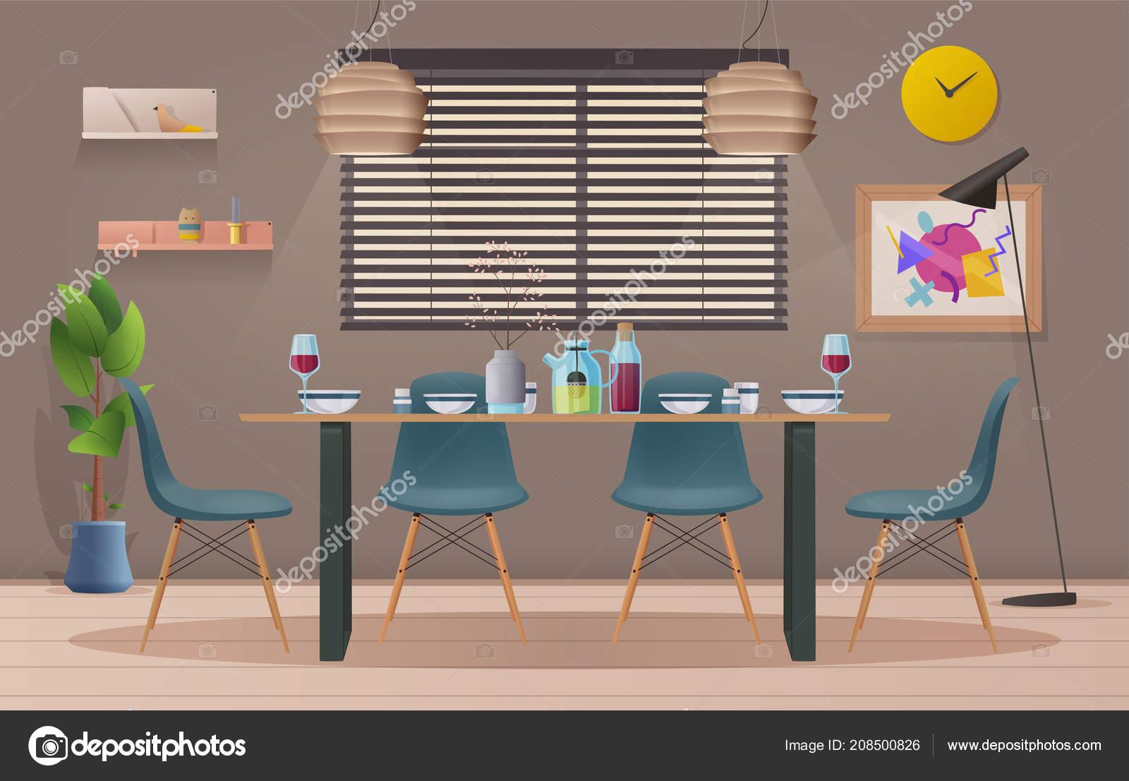 Interior de sala comedor con muebles. Vector ilustración de ...