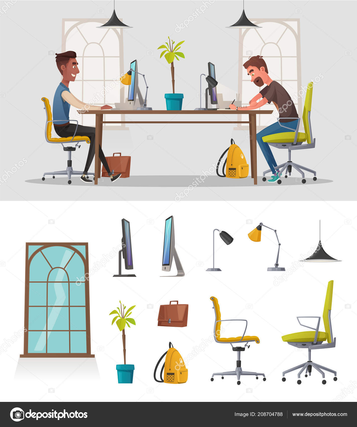 Funny Business Characters Working Cartoon Vector Illustration