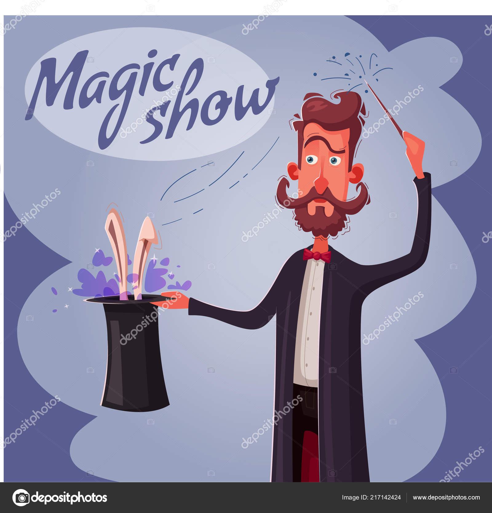 Cartel de circo con mago. Hombre que sostiene un sombrero de conejo.  Ilustración vectorial de dibujos animados. Show de magia. Hacer un truco de  ilusionista ... caf1993f662