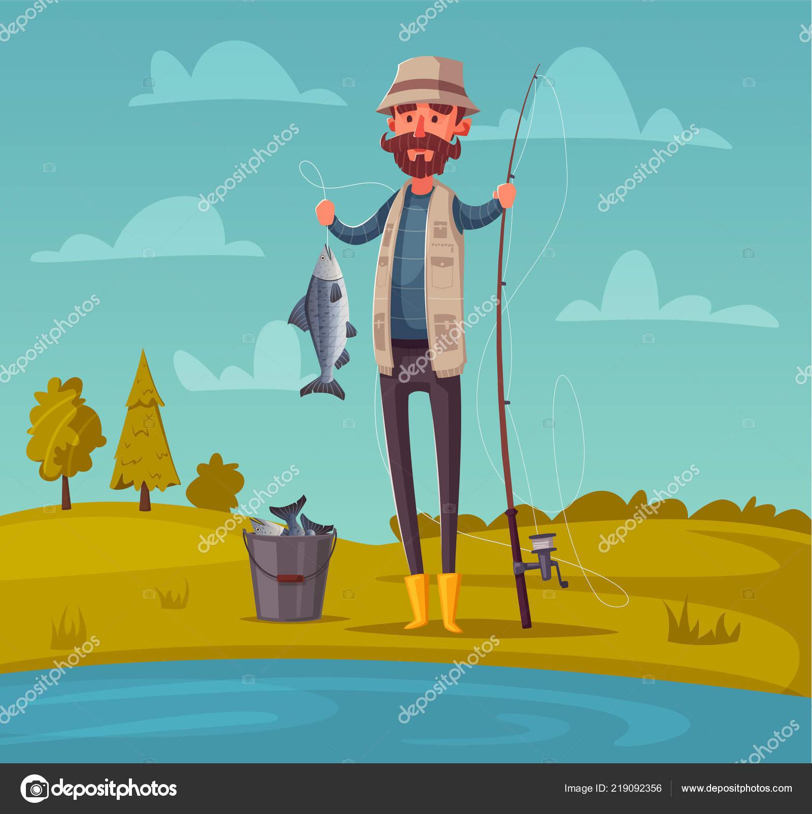 Rybar S Rybarsky Prut Kreslene Vektorove Ilustrace Stock Vektor
