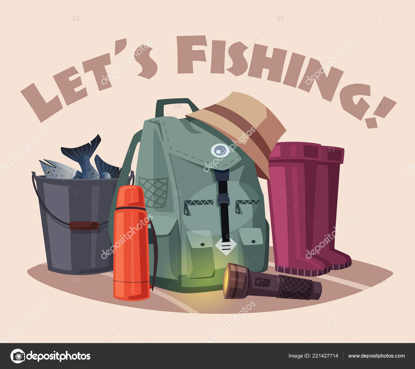 e07d510d4fa6 Fishing equipment. Set of icons. Cartoon vector illustration — Stock ...