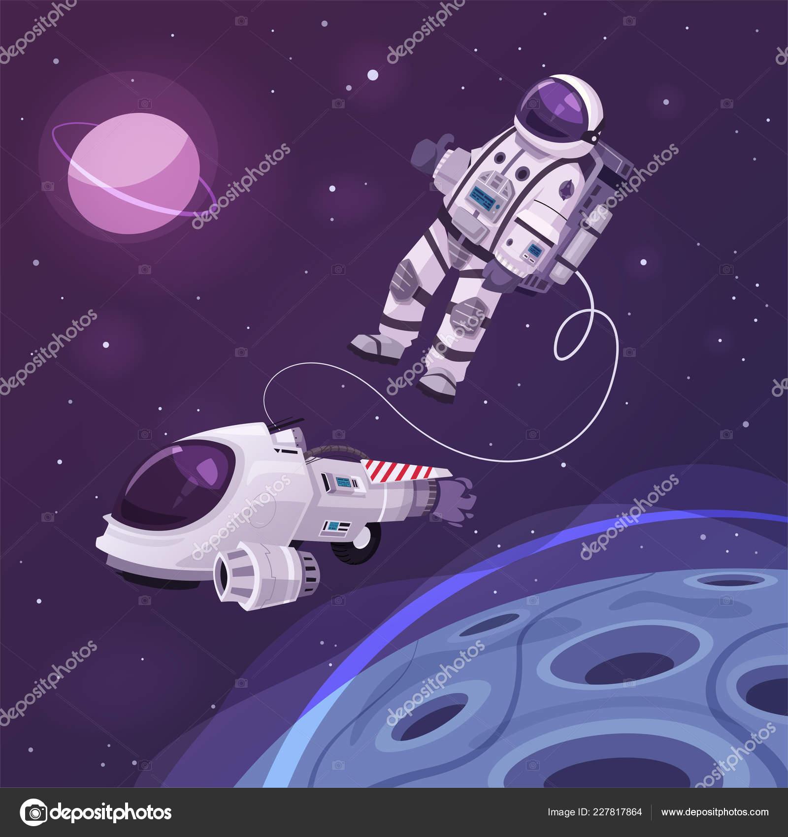 Znak Kosmonaut Ve Vesmiru Kreslene Vektorove Ilustrace Stock