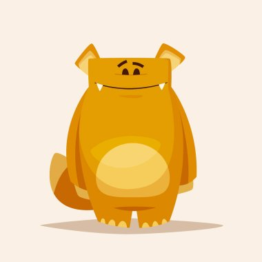 Funny cute monster character. Cartoon vector illustration.