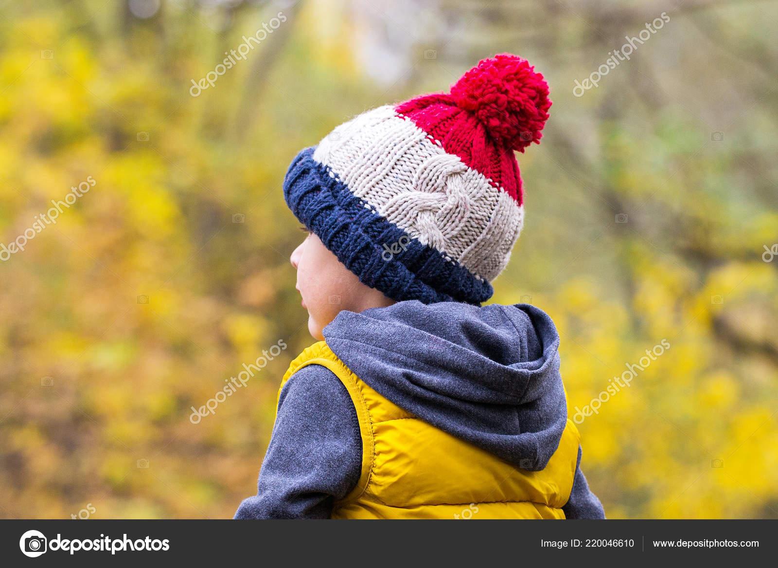 Chlapeček Módní Teplá Pletená Čepice Bambulí Pozadí Podzimního Lesa ... 400cb02070