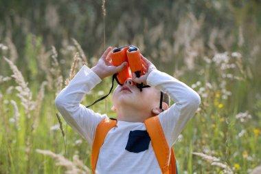 Young explorer watching with binoculars of birds in the high gra