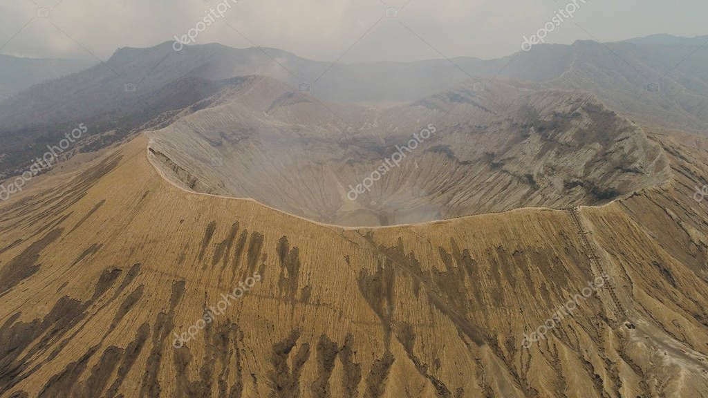 mountain landscape with an active volcano
