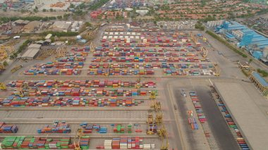 cargo and passenger seaport in surabaya, java, indonesia