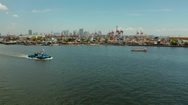 Manila, hlavní město filipínského leteckého pohledu.